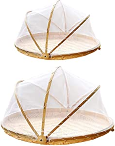 Hand-Woven Food Serving Tent Basket, Covered Bamboo Serving Food Tent Basket, Outdoor Picnic Food Cover Mesh Tent Basket with Gauze,36CM/14.17in