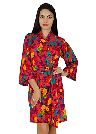 1942d8f34f Bimba Women Red Short Floral Cotton Robe Bride Bridesmaid Getting Ready  Coverup Gift