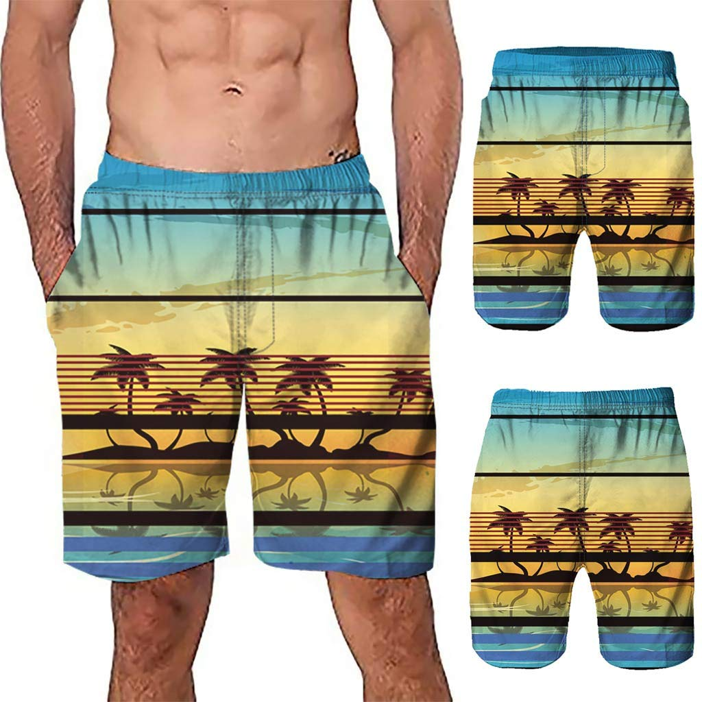 NUWFOR Men Casual 3D Graffiti Printed Beach Work Casual Men Short Trouser Shorts Pants(Multi Color,US:S Waist26.0-29.9'') by NUWFOR (Image #2)