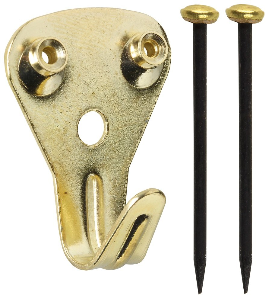 LION 6444 Courtesy Picture Double Hook and 2 Pins - Brass (Pack of 100)