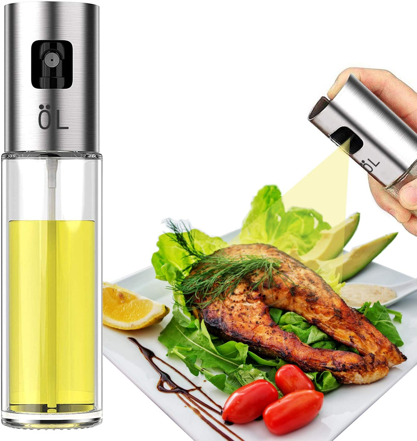 LAO XUE Olive Oil Sprayer Food-Grade Glass Bottle Gispenser For Cooking, BBQ, Salad, Kitchen Baking, Roasting, Frying