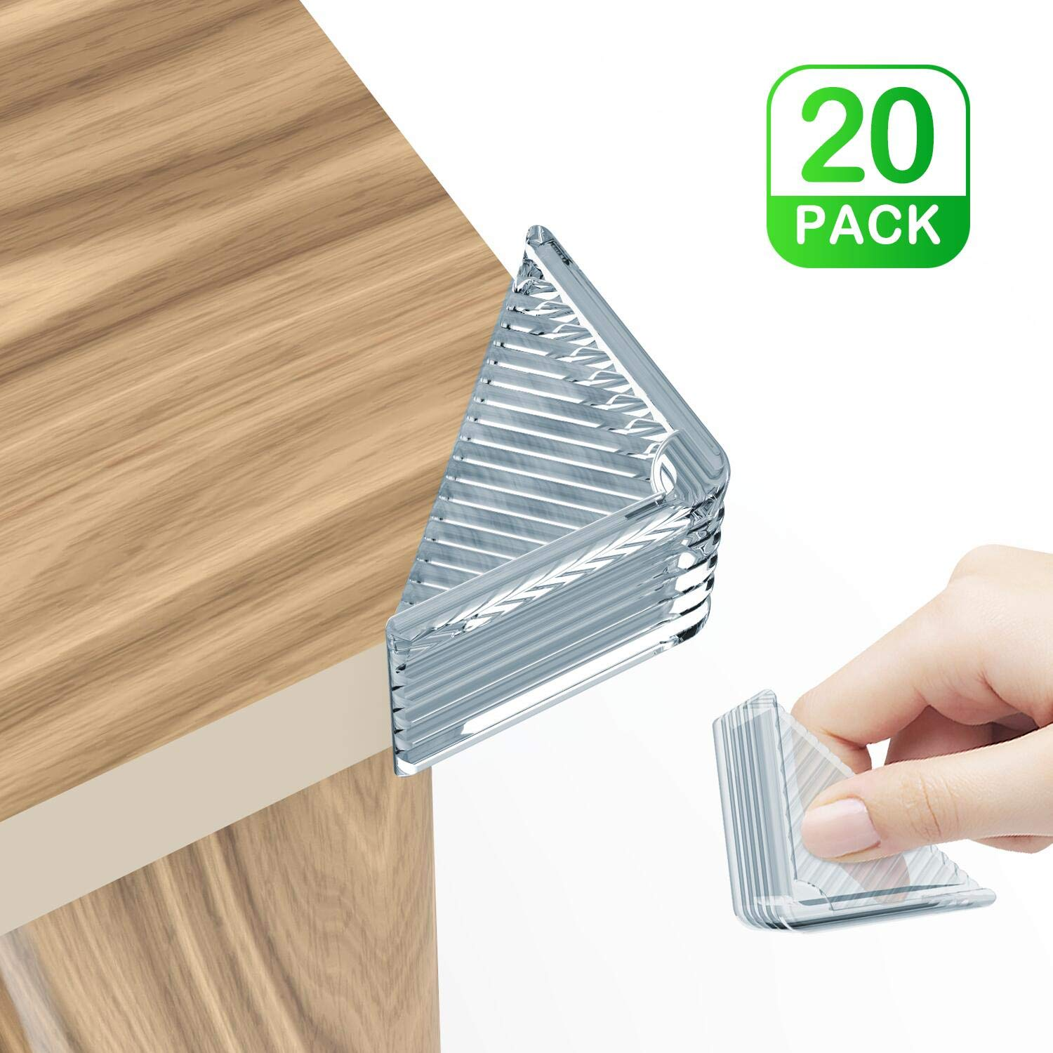 Corner Protector, 20 Pack Super Strong Clear Edge Bumper - Baby Proofing Kit For Furniture Against Sharp Corners, Easy Installation Child Proof Rubber Cabinet Cushion Cover