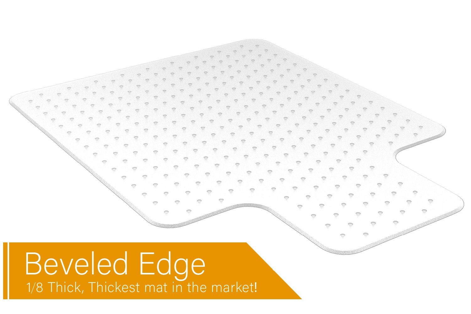 Office Chair Mat Heavy Duty Carpet Floor Protector Under Computer Desk Sturdy Studded Clear Polycarbonate Plastic Beveled Edges Low Pile Large 36'' X 48'' Thick 1/8'' with Lip Shipped Flat