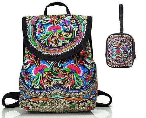 Goodhan Vintage Women Embroidery Ethnic Backpack Travel Handbag Shoulder Bag Mochila (S13: 2 pack