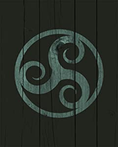 Celtic Triskele - Wall Decor Art Print on a dark green background - 8x10 unframed Celtic-themed print - great gift for people of Celtic descent or those interested in the culture