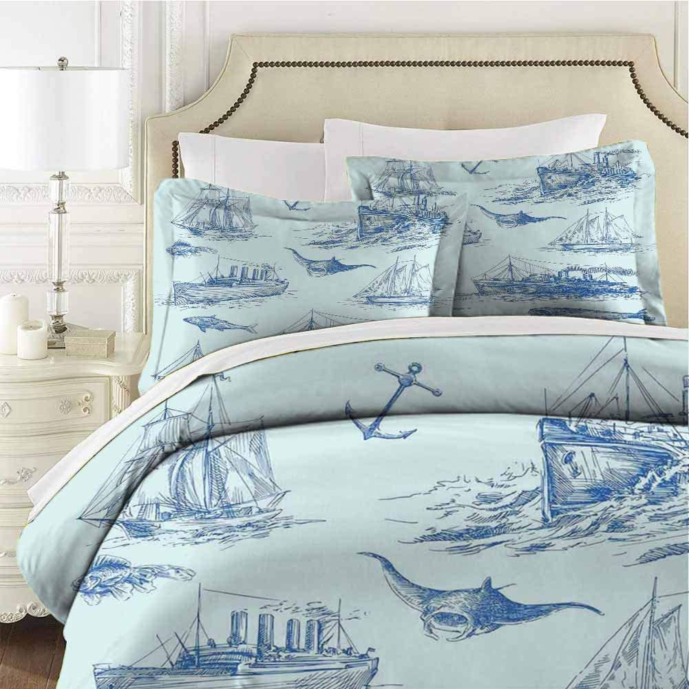 Nautical Bedding 3-Piece King Bed Sheets Set,Comforter Bedding Set Microfiber Duvet Cover Set Nautical Undersea Wildlife Shark Ancient for Any Bed Room Or Guest Room