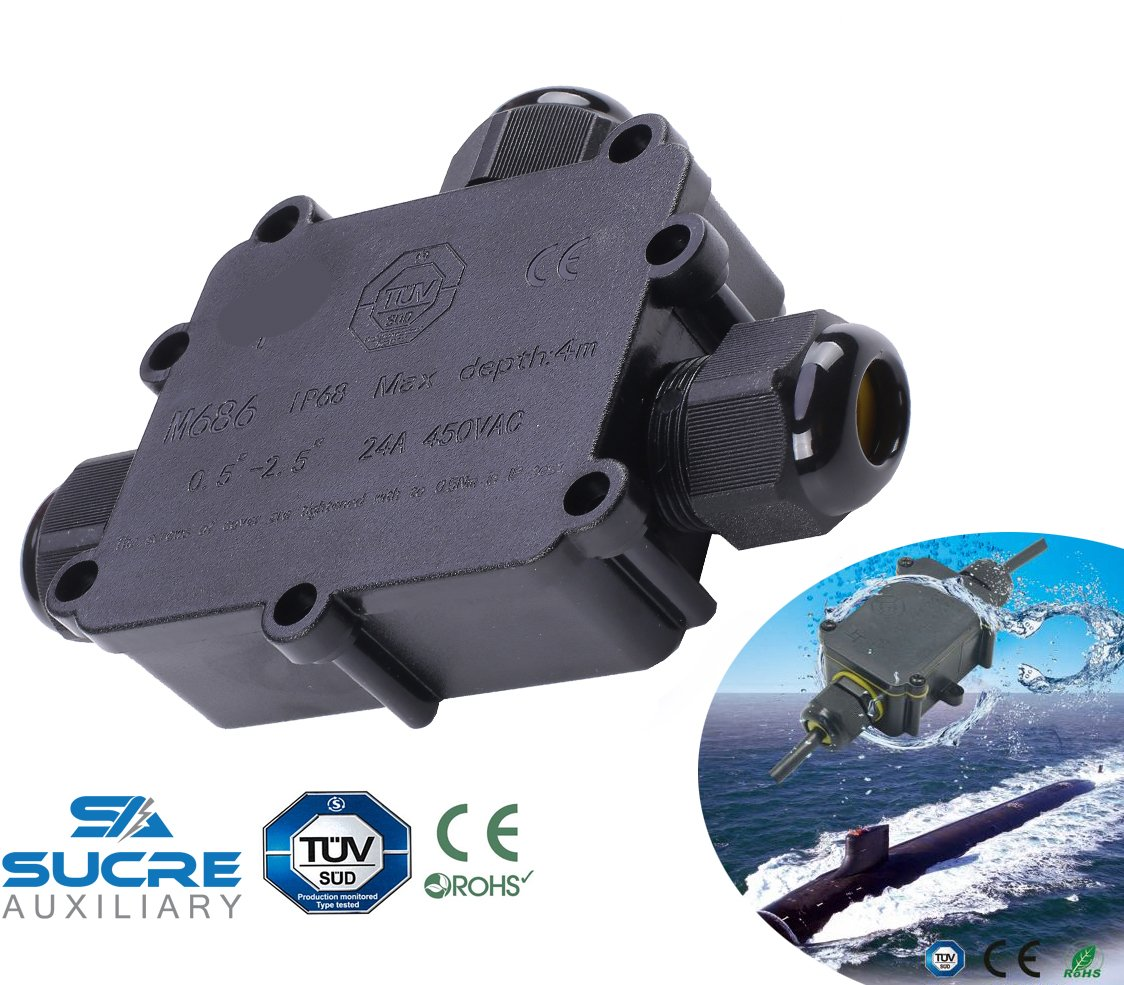 Sucre Auxiliary /® 24A 450V 6 Way IP68 Waterproof Electrical Cable Wire Connector Junction Box