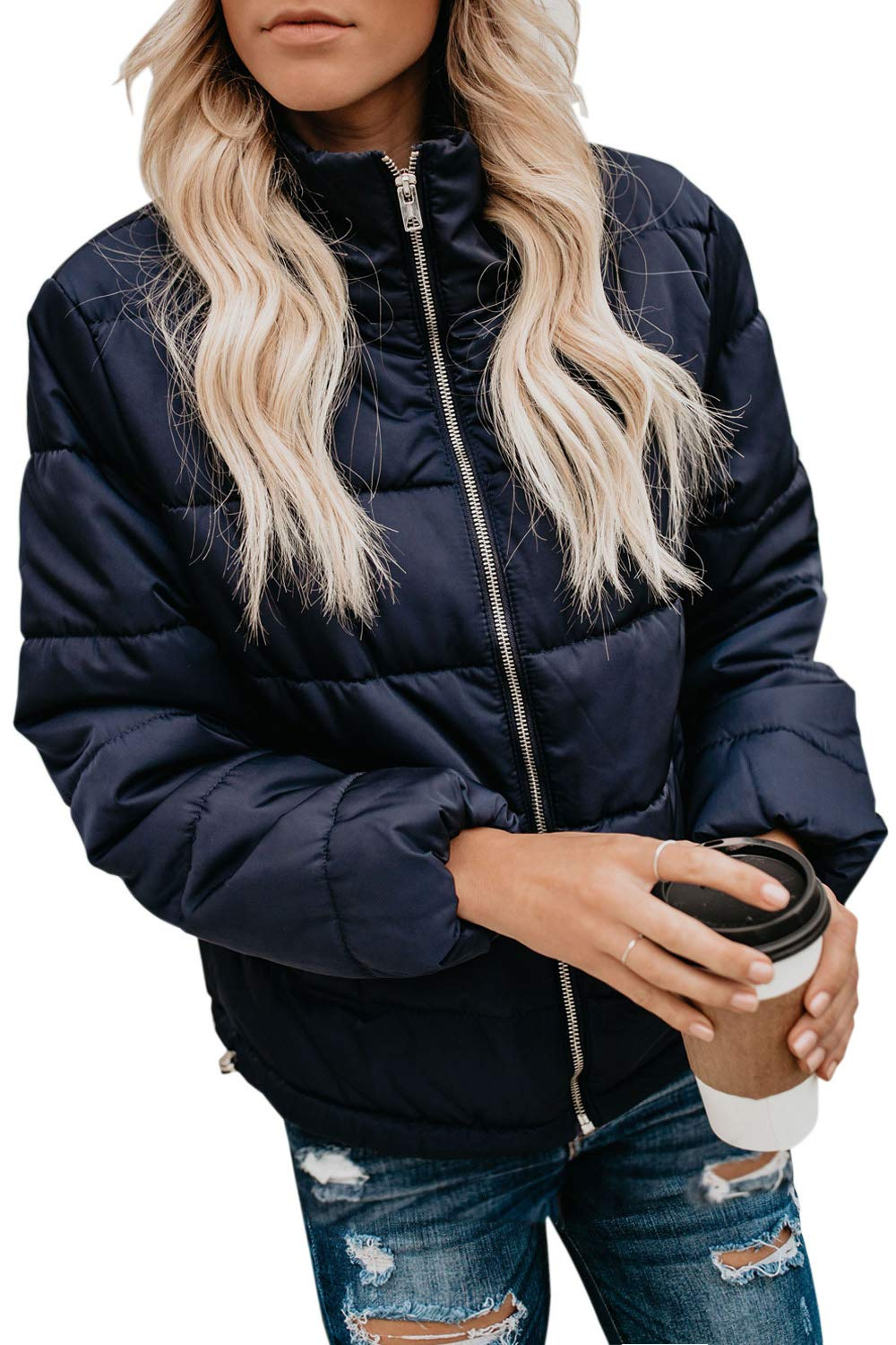 CILKOO Womens Classic Winter Ladies Fashion Zip Down Horn Button Open Front Long Sleeve Faux Fur Hooded Long Slim Padded Quilted Coat Outerwear Jackets with Pockets Navy US12-14 Large by CILKOO