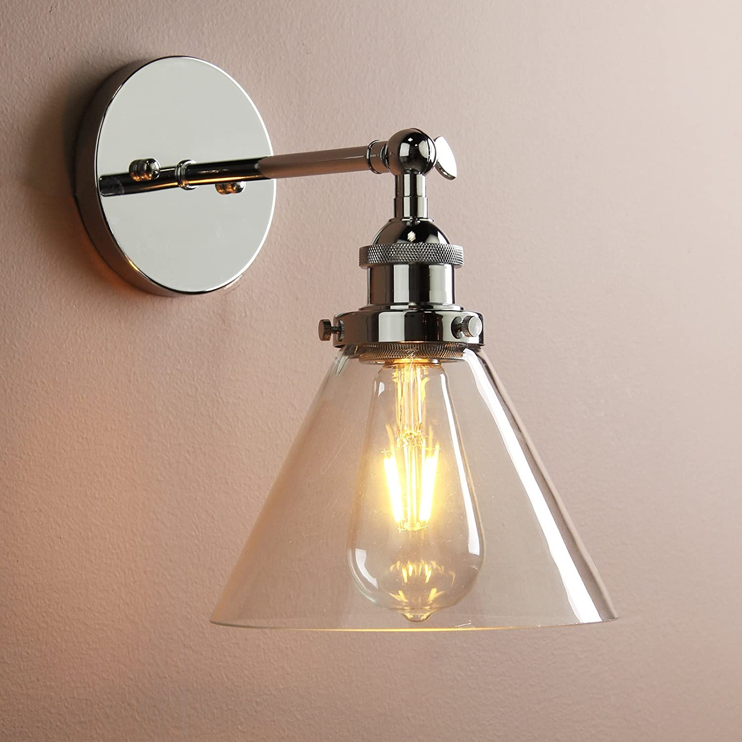 Permo stylish chic vintage industrial edison clear glass shade loft edison clear glass shade loft coffee bar wall sconce retro lighting lampshade fixtures chrome finish clear glass shade amazon kitchen home aloadofball Image collections