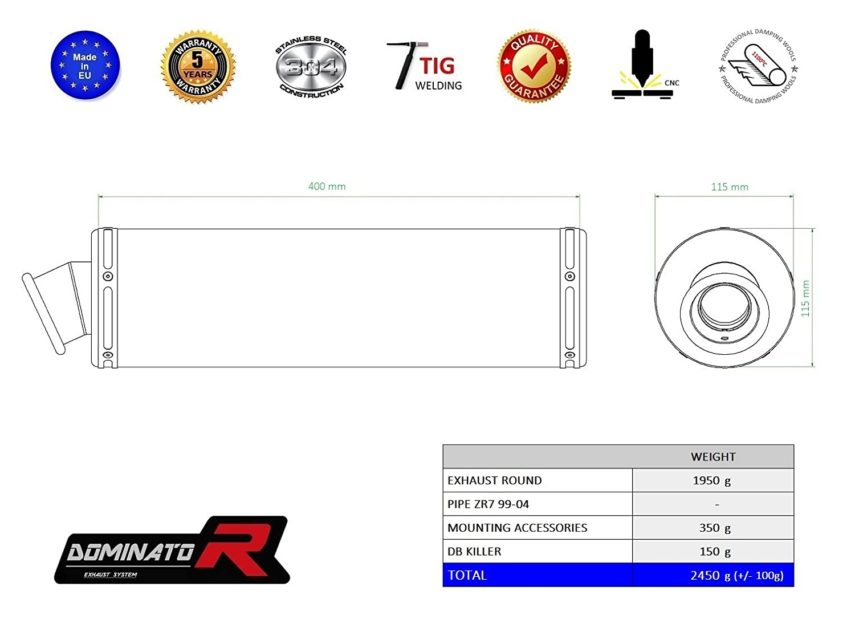 Dominator Exhaust Silencieux /échappement KAWASAKI ZR7 99-03 DB KILLER GP I