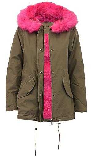 Click Selfie New ladies Fur Sherpa Hooded Parka Coat Fleece Lined Jacket Khaki/Pink 4