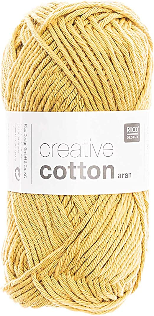 Rico Creative Cotton Aran FB. 25 maíz, Hilo de algodón para Punto y Ganchillo, Lana de Ganchillo.: Amazon.es: Hogar