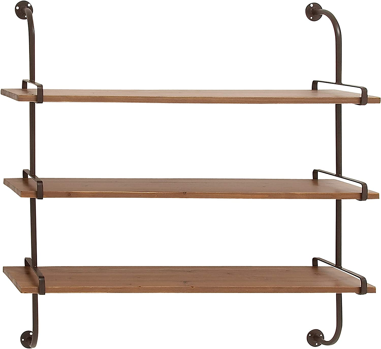 Amazon Com Deco 79 Rustic Metal 3 Tiered Wall Shelf 38 H X 38 L Natural Wood Brown Finish Home Kitchen