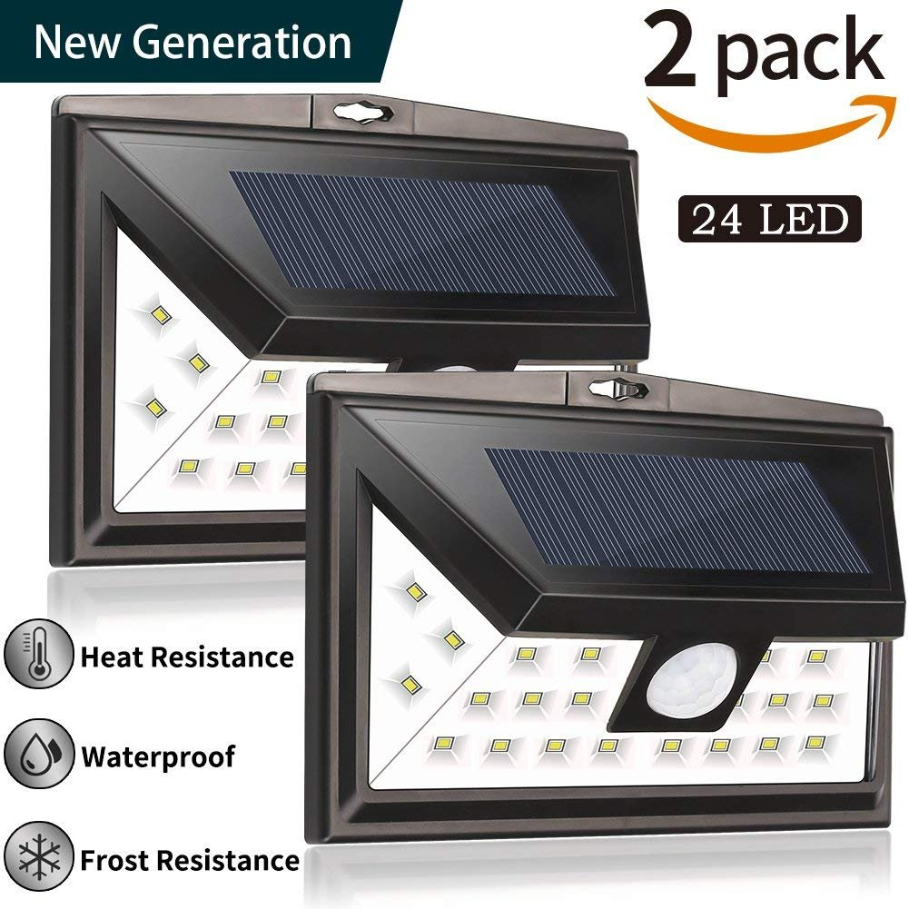 Solar Lights Outdoor by Woage, 24 Led Solar Powered Security Light, Upgraded Version IP67 Wireless Waterproof Motion Sensor Solar Lights, Outdoor Wall Lights for Patio, Deck,Garage(2 Pack)
