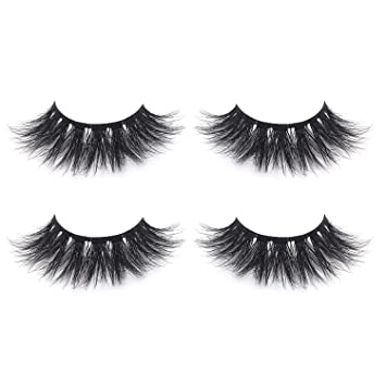 419d12689bf Amazon.com : Fluffy 3D Mink Lashes False Eyelashes Pack of 2, Mild Dramatic  Eye Makeup Eyelash in High-grade Mirror Box Package with Lash Tweezer :  Beauty