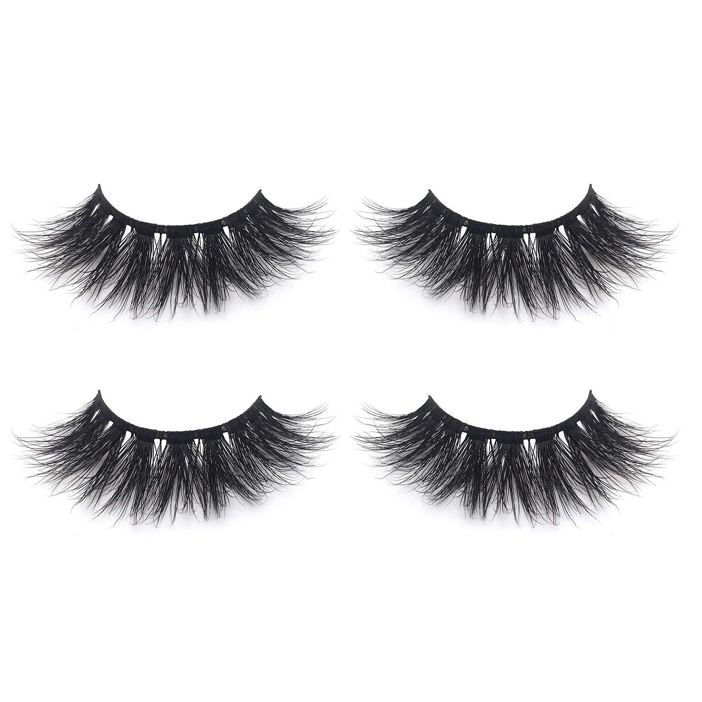 39f267b1fcc Fluffy 3D Mink Lashes False Eyelashes Pack of 2,Mild Dramatic Eye Makeup  Eyelash in