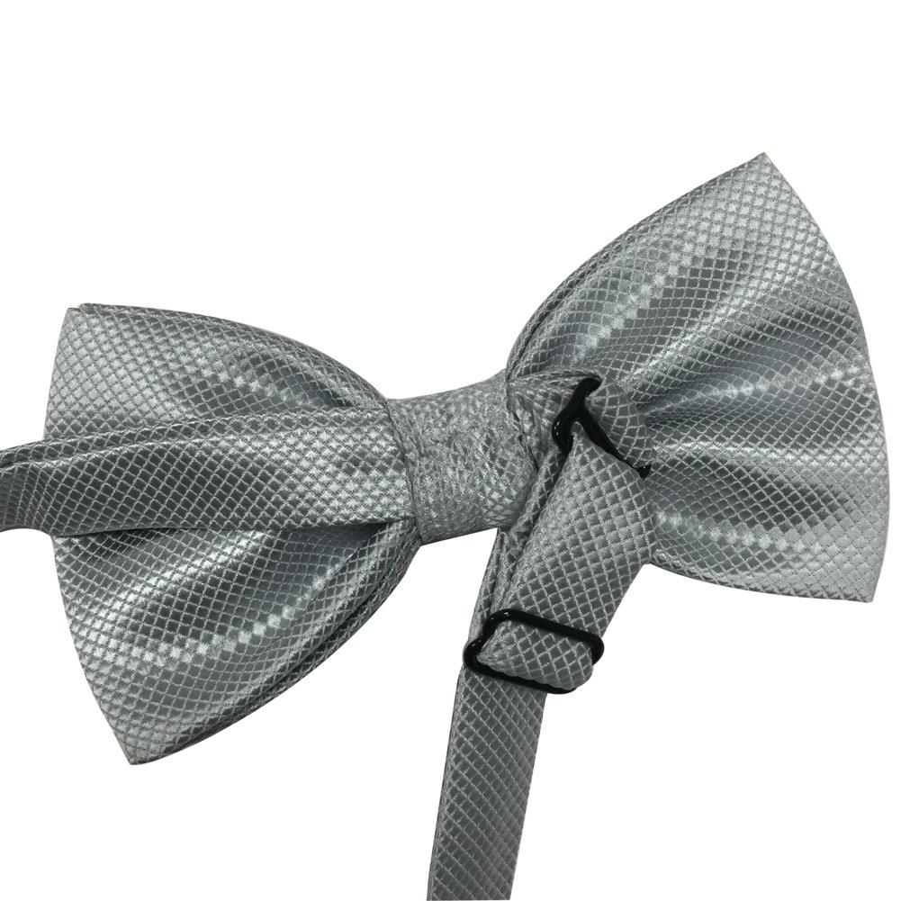 Mens Pre-tied Plaid Pattern Formal Bowties Banded Bow Ties (Dark Grey)