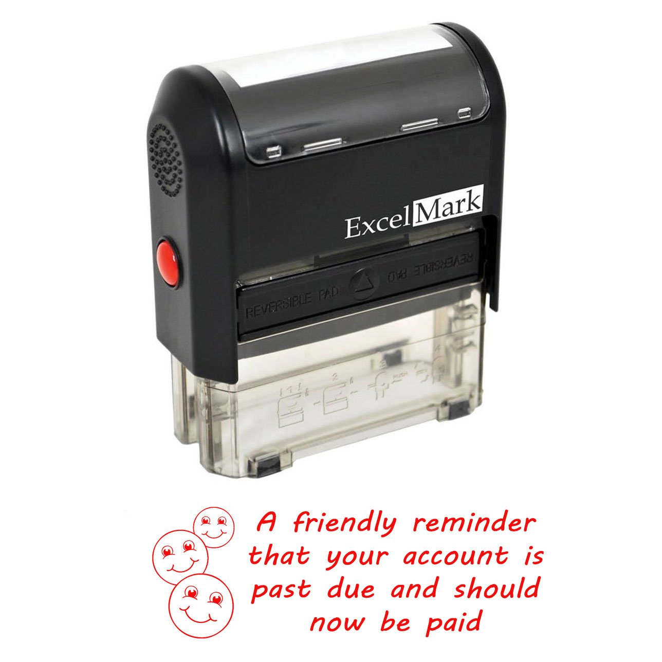FRIENDLY REMINDER PAST DUE - Self Inking Bill Collection Stamp in Red Ink