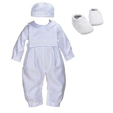 Cinda 3 pièces Garçon Satin Baptême Romper Chapeau Bonnet et Chaussures  Blanc 0-3 Mois 5d17d55ccfe