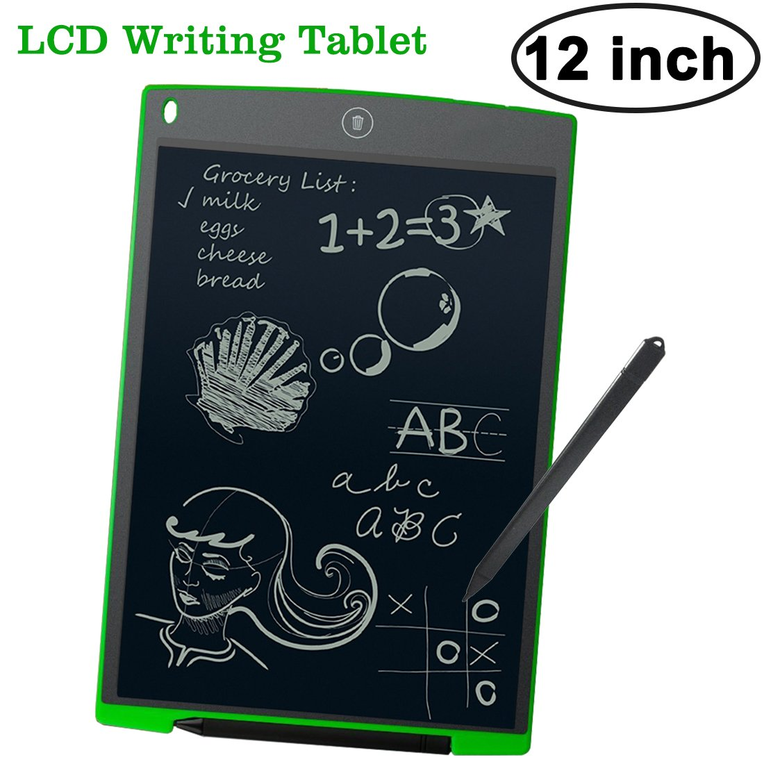 12 Inch LCD Writing Tablet for Kids Toddlers Draw Board with Stylus Erase Digital Large Pads Magnet Electronic Graphics Office Memo Children Arts Learing Doodle Toys for Boys Girls Adults by Symfury