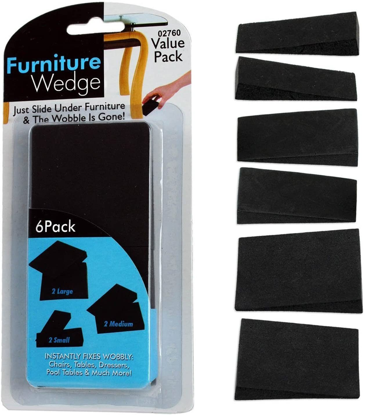 6pc Furniture Wedge 'Wobble-Stoppers' Fix Uneven Tables Chairs