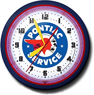 """product image for Pontiac Service Neon 20"""" Wall Clock Auto Made In USA, 110V Electric, Aluminum Spun Case, Powder Coated Finish, Glass Face, Brass Movement, Pull Chain, 1 Year Warranty"""