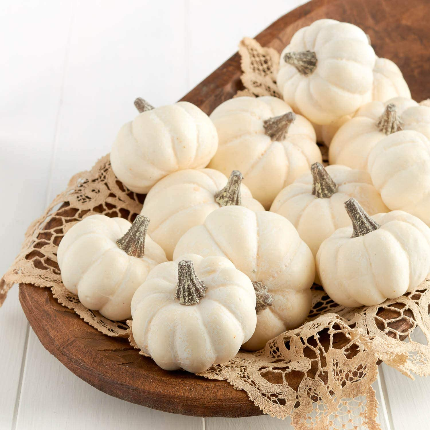 Factory Direct Craft 12 Small Off White Baby Boo Artificial Pumpkins for Halloween, Fall and Thanksgiving Decorating