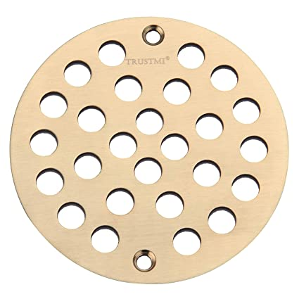 TRUSTMI 4 Inch Screw-in Shower Drain Cover Replacement Floor  Strainer,Brushed Gold