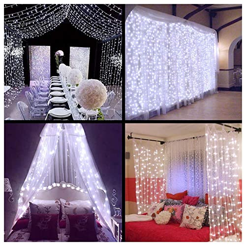 ollny led window curtain string lights icicle fairy lights for wedding xmas christmas outdoor home party - Amazon Uk Outdoor Christmas Decorations