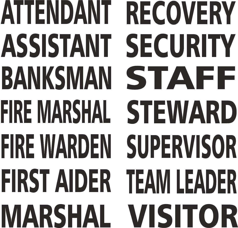 FIRE WARDEN Iron On Job Title Heatseal Transfer for Hi Viz