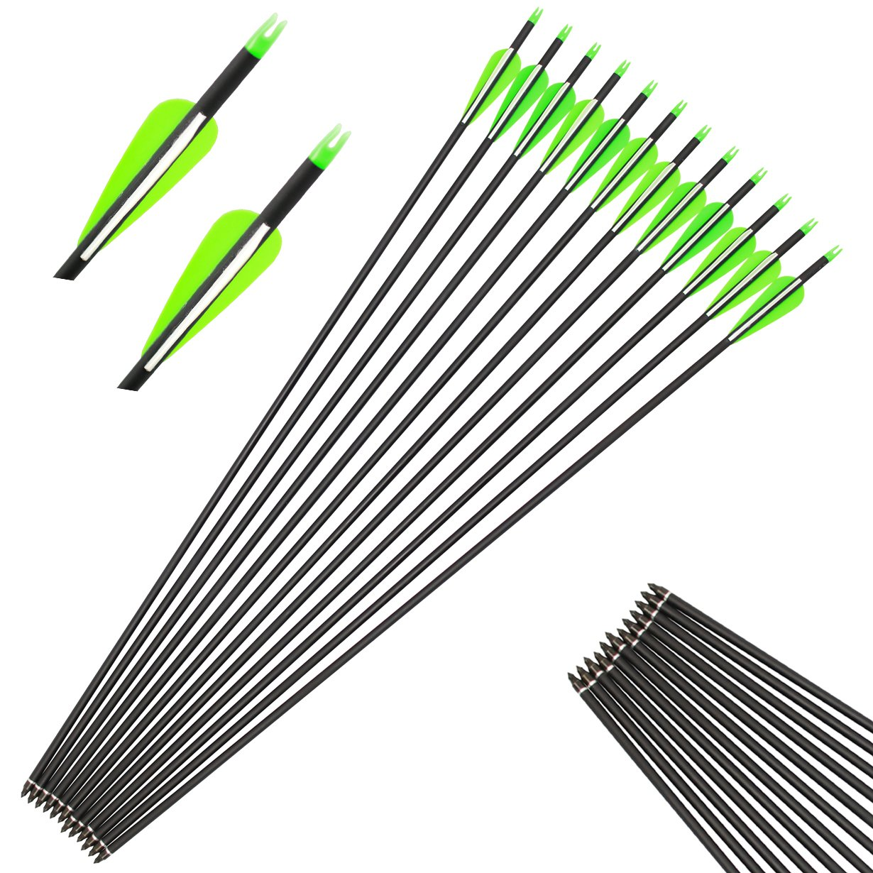kaimei 30'' Carbon Fiber Arrow Plastic White-green Feather Replaceable Pointed Screw-in Recurve Compound Bow Practice Targeting Arrows (12 pieces)