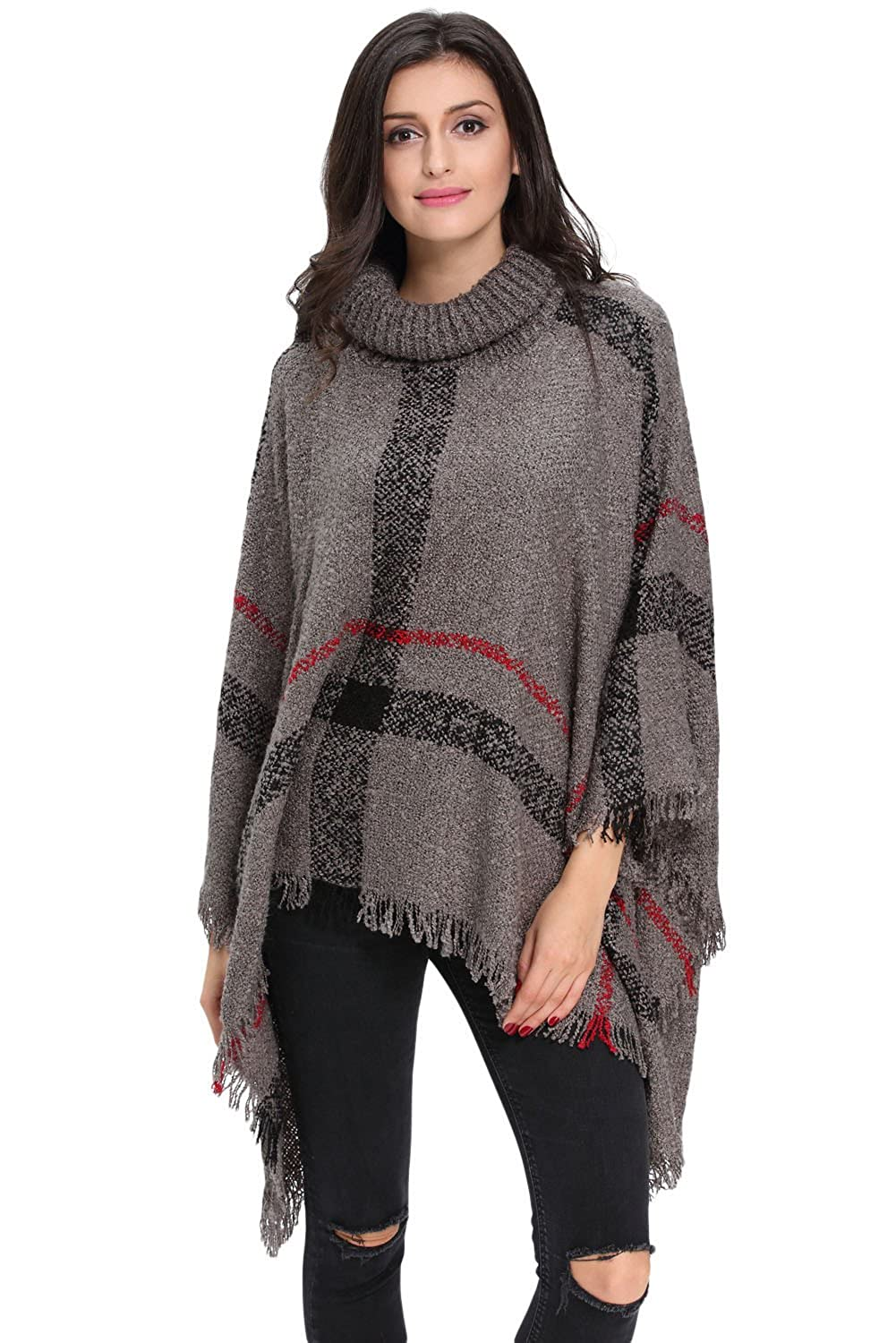 HY Women Plaid Batwing Knit Poncho Turtleneck Cape Sweater Cloak Pullover Gray