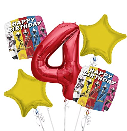 Amazon Power Rangers Balloon Bouquet 4th Birthday 5 Pcs