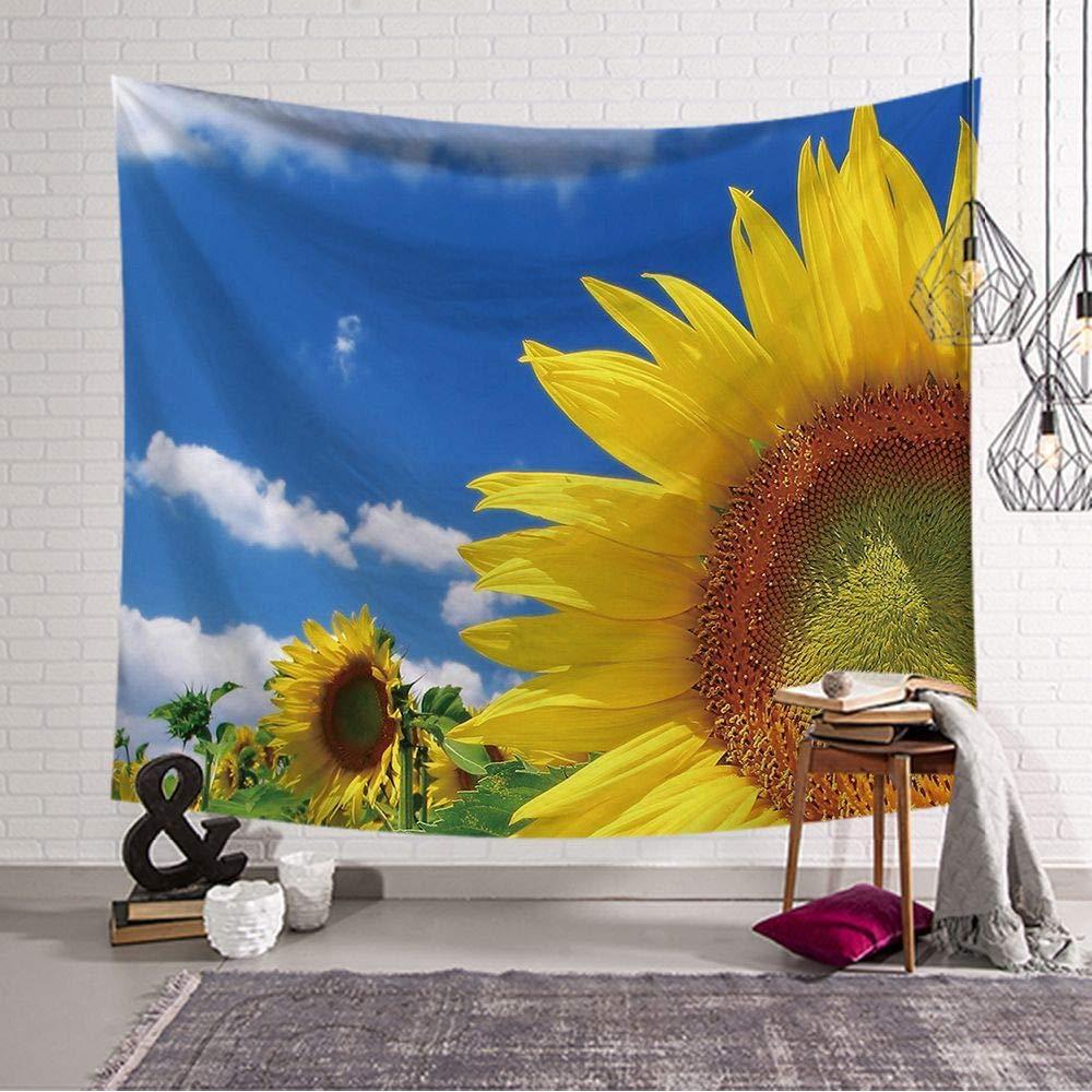 decorazione da parete per camera da letto soggiorno 150x130cm 1 Tappeto da parete con girasoli giallo fiori blu cielo paesaggio da parete Tapestry Bohemian Mandala carta da parati