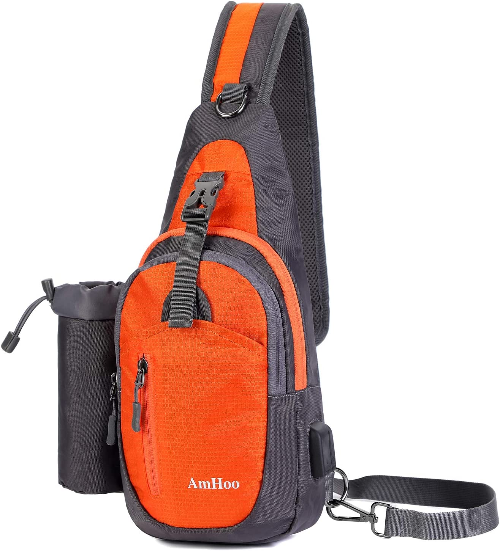 AmHoo Sling Backpack Chest Shoudler Crossbody Bag Waterproof Hiking Daypack Small Orange