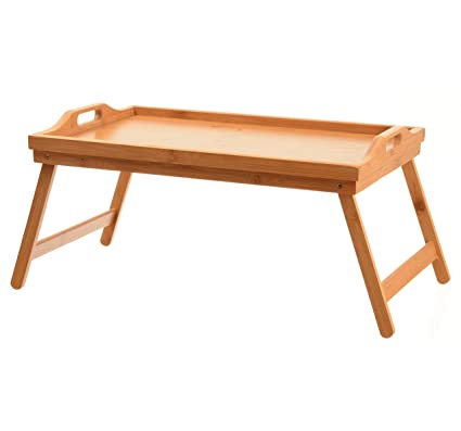 Charmant Home It Bed Tray Table With Folding Legs, And Breakfast Tray Bamboo Bed  Table