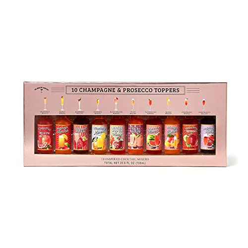 10 Champagne & Prosecco Toppers Gift Box by Modern Gourmet Foods | Refreshing Fruit-Flavoured Drink Mixes Including Mango, Raspberry, Peach, Mandarin, and More