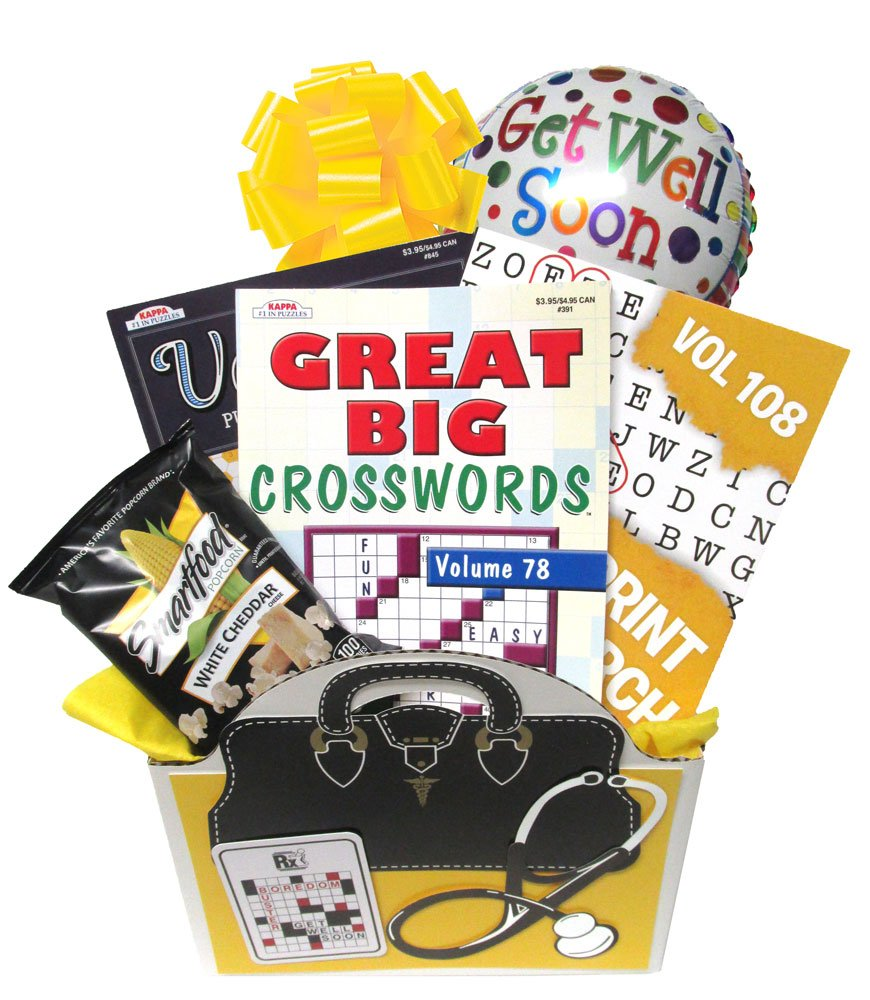 Get Well Soon Gift Basket: Boredom Buster for Men, Women, Teens - Recovery or After Surgery Gift with Puzzle Books for Ages 13 to 113