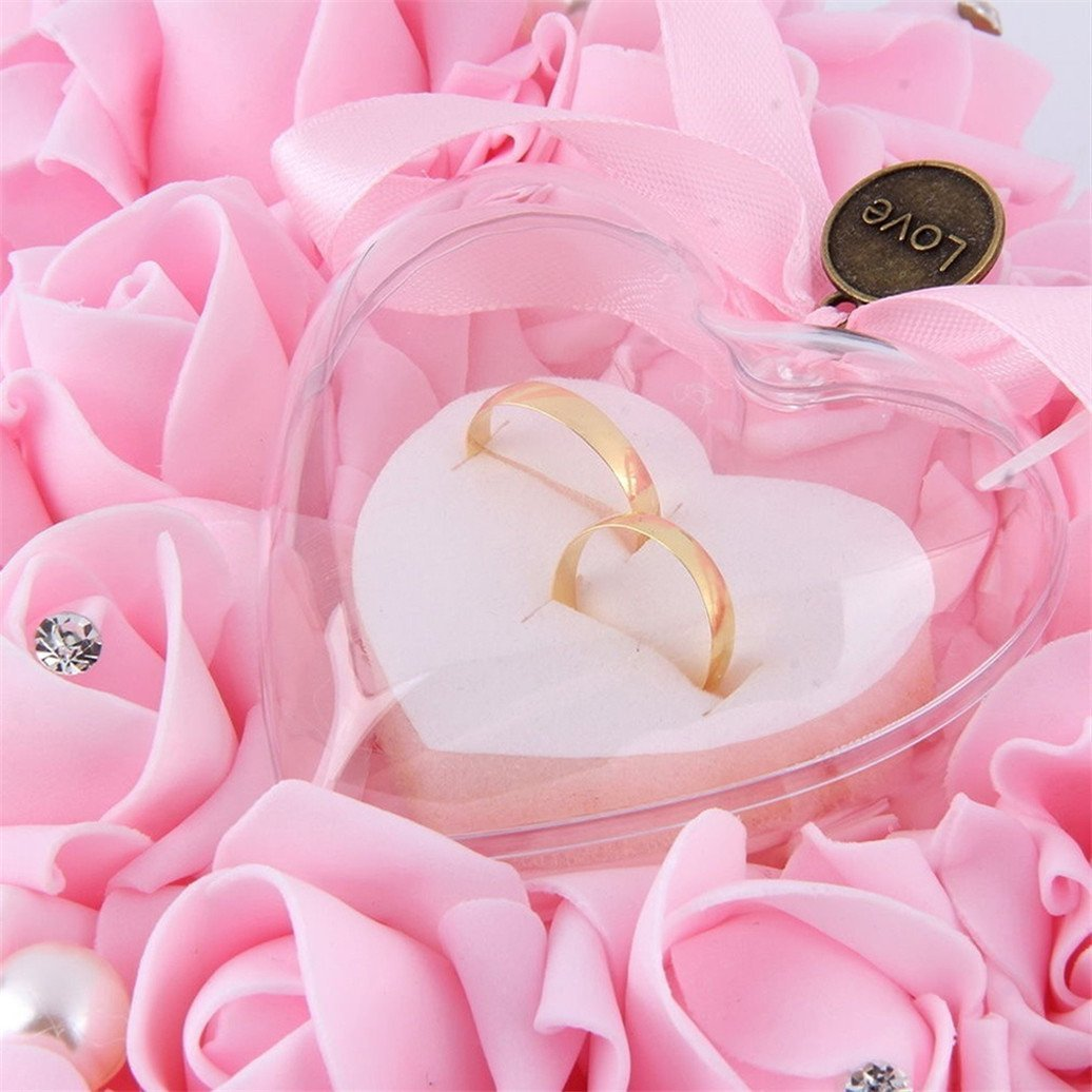 Gemini_mall® White Romantic Rose Wedding Ring Cushion Ring Box Heart ...