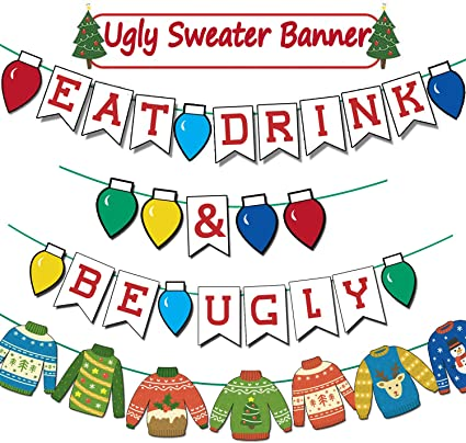 Ugly Sweater Party Decoration It/'s Gettin Ugly In Here Banner for a Backdrop Gold Glitter