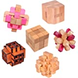 KINGOU 6 Packed Wooden Puzzles IQ Challenge Puzzle Set Brain Teasers Logic Puzzles Interlocked Toys, Adult / Kids