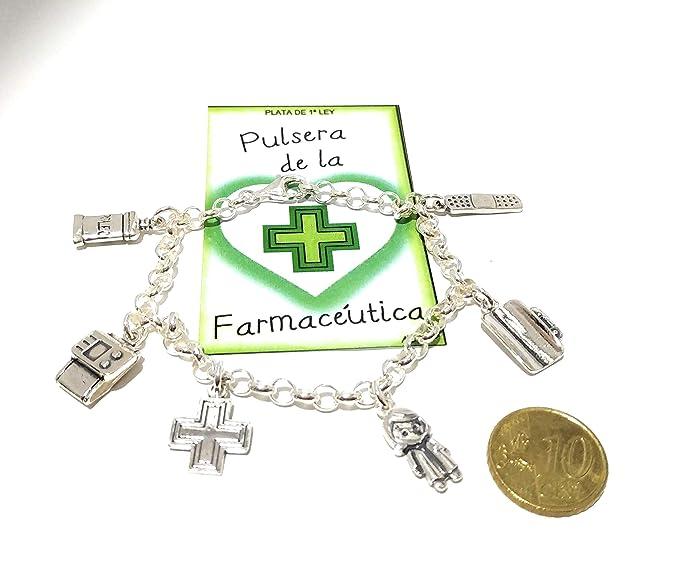 Mis detalles complementos Pulsera Mujer Profesiones Plata de Ley 925 Farmaceutica: Amazon.es: Joyería