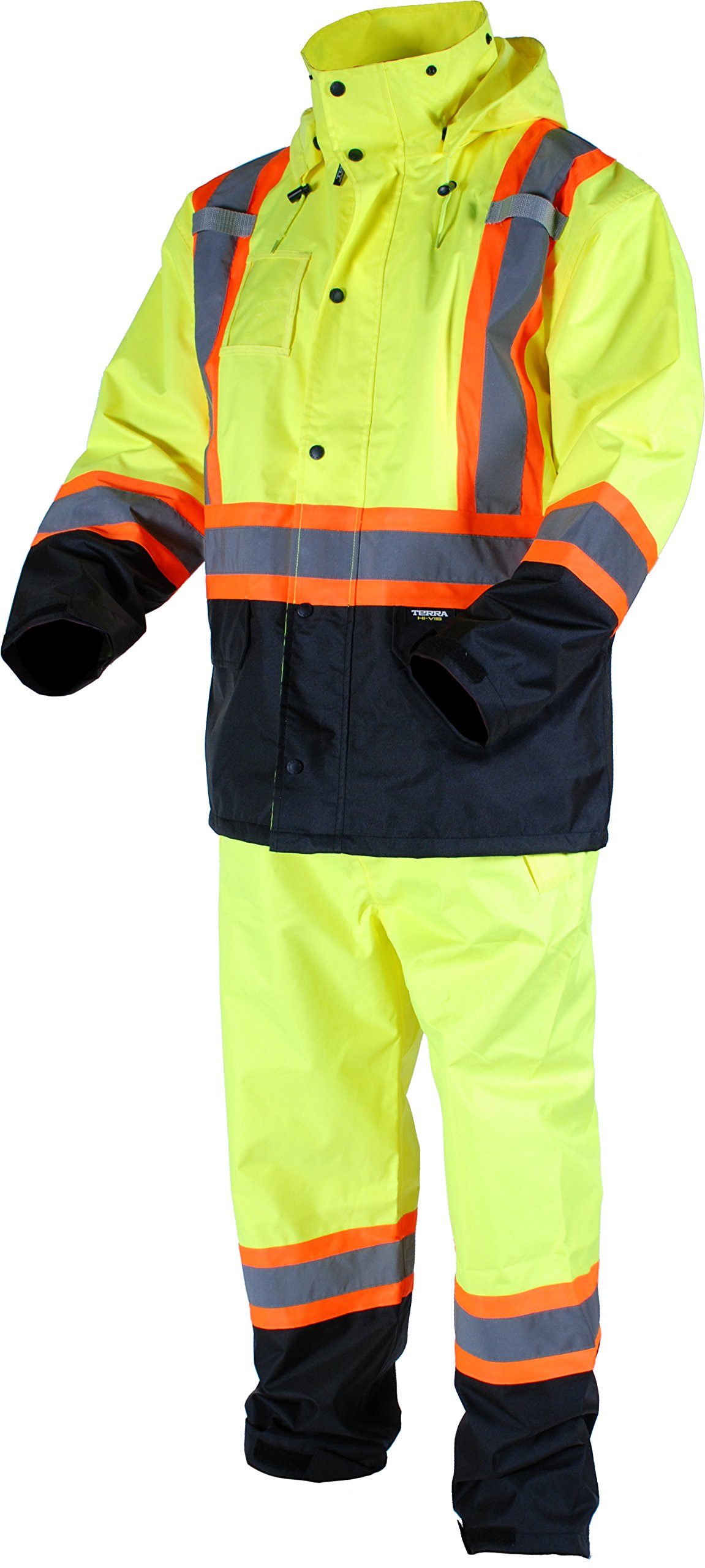 Terra 116520YL2XL High-Visibility Reflective Safety Rain suit, 2XL, Yellow