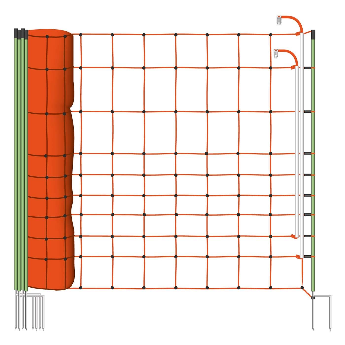 Malla eléctrica para ovejas PLUS/MINUS, protección especial contra lobos, rollo de 50m de longitud y 120cm de altura, 14 postes con punta doble y kit de reparación Voss.farming