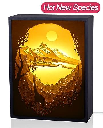 Papercut Light boxes, 3D Shadow Box Led light night lamp, Decorative Mood Light for