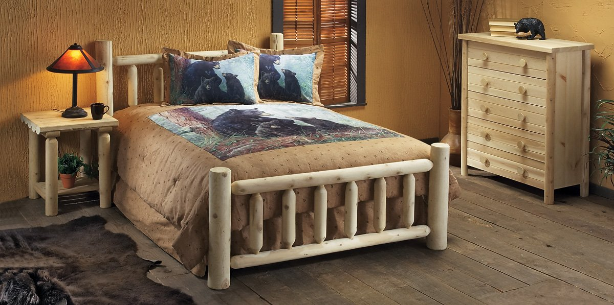 Amazon.com: Natural Rustic Cedar Log Style Bed (Full): Kitchen ...