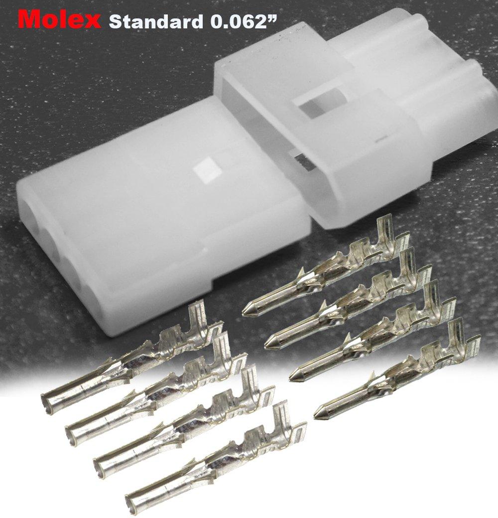 Molex (4-Circuits) Male & Female Receptacle Plug, w/Terminal sockets ...