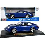 "Maisto Special Edition Series 1:18 Scale Die Cast Car Set - Navy Blue High Performance Sports Car PORSCHE 911 CARRERA S with Base (Dim: 9"" x 4"" x 3"")"
