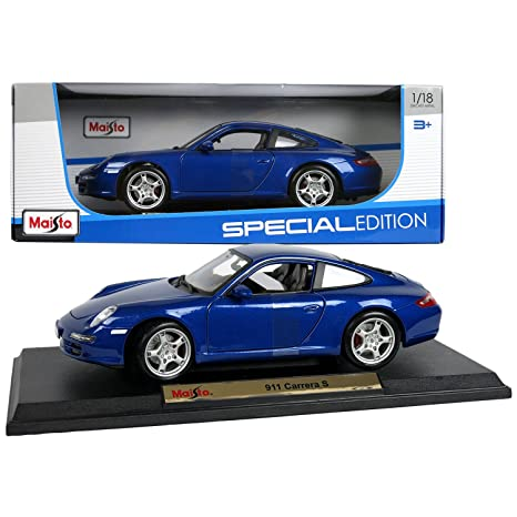 Amazon.com: Maisto Special Edition Series 1:18 Scale Die Cast Car Set - Navy Blue High Performance Sports Car PORSCHE 911 CARRERA S with Base (Dim: 9