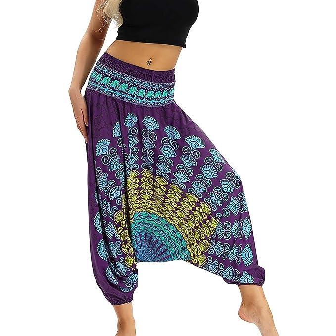 9f2e4e4e15ca Lvguang Donne Pantaloni alla Alibaba Indiana Danza Pantaloni Yoga Pantaloni  Hippie Boho Beach Pantaloni Harem (
